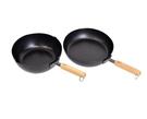 Tetsu 日本製木把鐵鍋兩件組 炒鍋直徑24公分/平底鍋直徑26公分