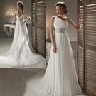 婚紗禮服新款 性感單肩晚禮服白色小拖尾禮服 新娘敬酒迎賓禮儀服-rain0022