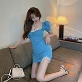 顯瘦開叉包臀連衣裙女夏季高腰法式短裙子泡泡袖一步裙【橘社小鎮】