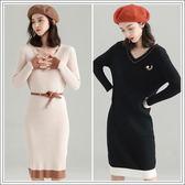 SHINE KOREA 秋冬時尚顯瘦V領針織連身裙