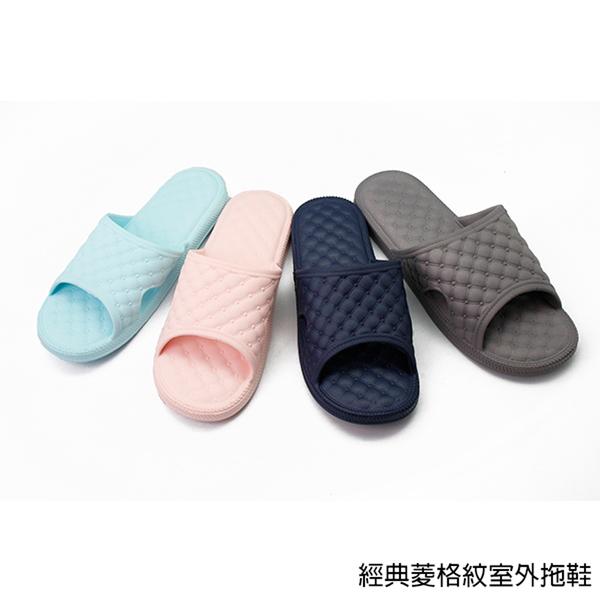 【333家居鞋館】凸面舒壓設計 經典菱格紋室外拖鞋-深藍色