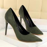細跟超高跟鞋子 尖頭絨面顯瘦鞋《小師妹》sm598