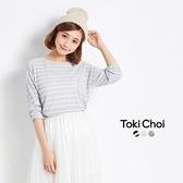東京著衣-tokicho-口袋綴珠條紋長袖上衣(6021414)
