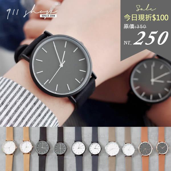 Planet.香港FEIFAN。極簡線條刻度皮革錶帶手錶/對錶【tc431】*911 SHOP*
