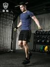健身套裝男緊身衣健身房訓練服跑步運動套裝男春夏季中大尺碼運動服男  快速出貨