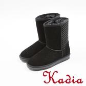★2017秋冬新品★kadia.溫暖冬季-牛反毛水鑽中筒雪靴(7713-93.黑)