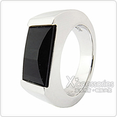 萬寶龍MONTBLANC 壓印LOGO黑寶石鑲飾寬版戒指(銀)