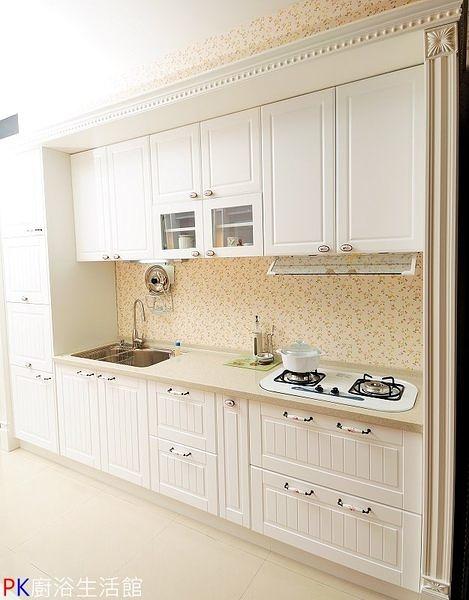 ❤PK廚浴生活館 實體店面❤高雄 廚房歐化系統櫥具 白色鄉村風一字型流理台