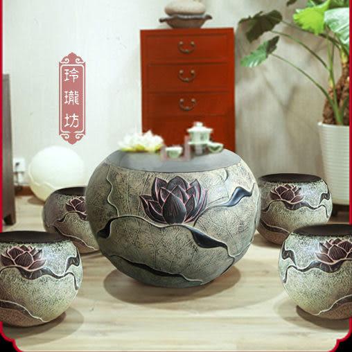 吐血特價/古色古香/中國傳統樣式/居家工藝茶幾/荷風