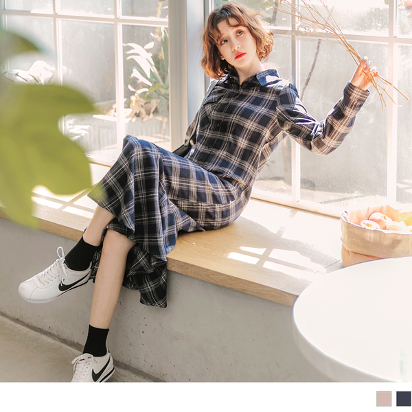 《DA6070》高含棉格紋拼接波浪裙襬洋裝--適 XL~6L OrangeBear