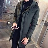 夾克外套-連帽中長版時尚保暖休閒夾棉男外套2色73qa7[時尚巴黎]