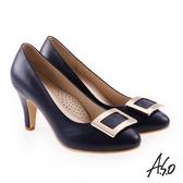 A.S.O 雅緻魅力 職場通勤典雅飾釦高跟鞋 深藍