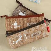 韓國復古風格森林童話簡約小清新木紋PU皮質筆袋收納袋化妝包  奇思妙想屋