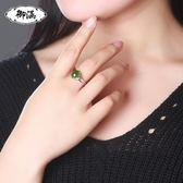 戒指 珠寶和田玉碧玉戒指女款925銀鑲菠菜綠天然玉石玉器碧玉指環 巴黎春天