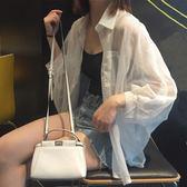襯衣夏季韓國原宿風寬鬆百搭雪紡衫開衫外塔外套蝙蝠袖防曬衣女小時光生活館