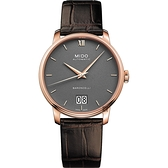 MIDO美度 BARONCELLI 永恆系列 III 大日期機械錶-灰x咖啡皮帶/40mm M0274263608800