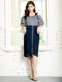 春裝上市[H2O]吊帶可拆超顯瘦彈性牛仔鉛筆中長裙 - 深藍/淺藍色 #0684005
