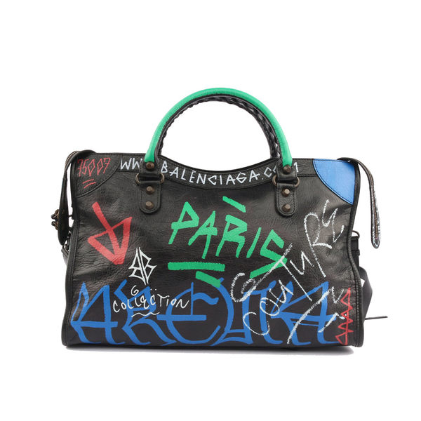 【BALENCIAGA】塗鴉Graffiti小釦CITY(黑/綠/紅)(可斜背) 505550 0FEJT 1070