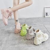 馬丁靴英倫風春秋夏季透氣高筒帆布鞋女新款百搭秋季學生短靴 亞斯藍