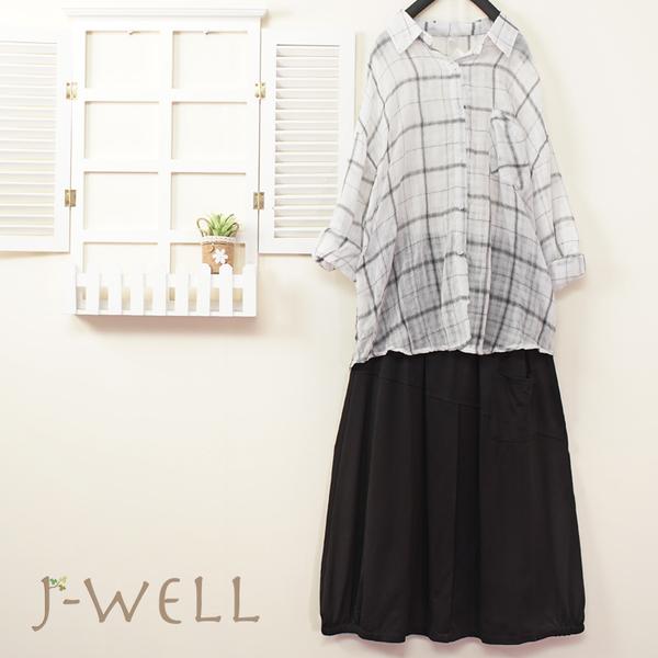 J-WELL 薄棉配色格紋男友襯衫裙二件組(組合A275 8J1620白格+8J1568黑)