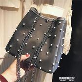 珍珠包上新小包包女新款潮韓版百搭斜挎包錬條手提單肩包珍珠水桶包  凱斯盾數位3c