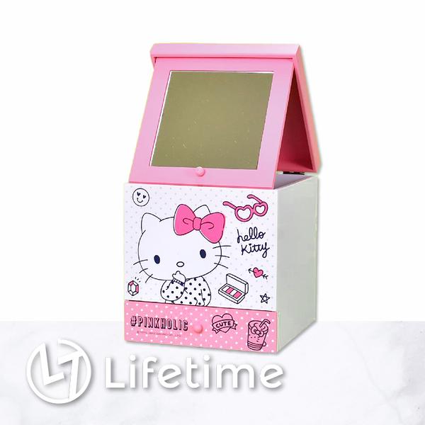 ﹝KittyPINK折疊化妝鏡單抽櫃﹞正版 單抽盒 化妝鏡 收納盒 置物盒 凱蒂貓〖LifeTime一生流行館〗