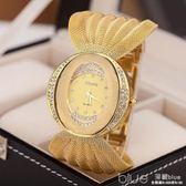 抖音同款潮流韓版簡約復古可愛學生網帶女手錶防水電子金色石英錶  深藏blue