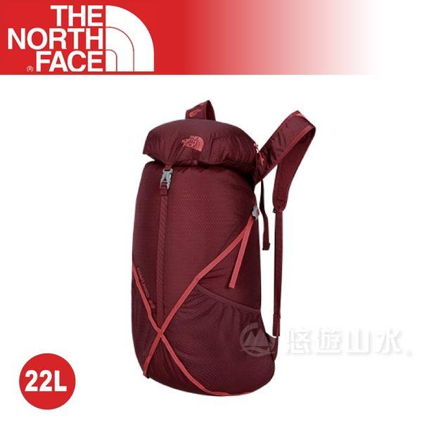 【The North Face 22L 輕量專業登山背包《暗紅/刺紅》】NF00CF05LDN/健行背包/登山包/後背包