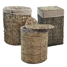 峇里島休閒風 鋼線結構手工天然柳編有蓋收納籃/洗衣籃(中籃)