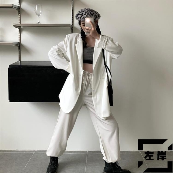 西裝外套女寬鬆休閒小西服中長款長袖開衫夏季【左岸男裝】