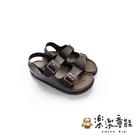【樂樂童鞋】【台灣製現貨】MIT寬帶涼鞋-棕 C036 - 現貨 台灣製 女涼鞋 露趾鞋 沙灘鞋 親子鞋
