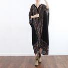 洋裝-寬鬆大碼民族風條紋雪紡蝙蝠袖開衫/設計家