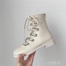 涼靴女2020夏新款ins網紅內增高粗跟馬丁靴鏤空綁帶高筒羅馬涼鞋  一米陽光
