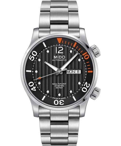 MIDO 美度 Multifort Diver 系列旗鑑日曆機械手錶-黑/銀 M0059301106080