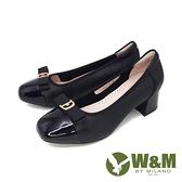 【南紡購物中心】W&M(女) 方頭蝴蝶拼接方跟淑女鞋 娃娃鞋 - 黑(另有白)