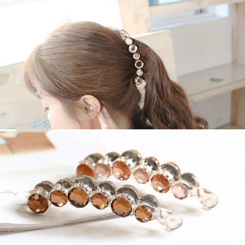 【NiNi Me】韓系髮飾 氣質優雅閃亮寶石小香風香蕉夾馬尾夾髮夾 髮夾 H9416