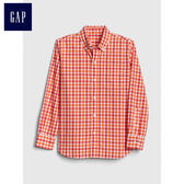 Gap男嬰幼童 直筒格紋長袖鈕扣襯衫 442475-橙色格子花呢