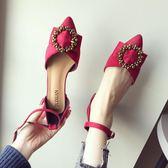 涼鞋女2018春夏新款女鞋粗跟一字扣尖頭低中跟小跟鞋鏤空單鞋婚鞋
