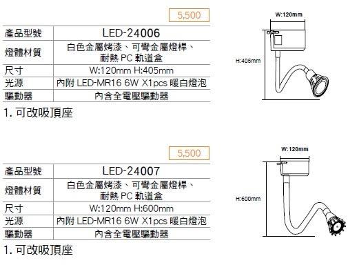 【燈王的店】LED 6W 蛇管 軌道投射燈 (附光源)(附驅動器)(全電壓)(暖白) ☆ LED24006 LED24007