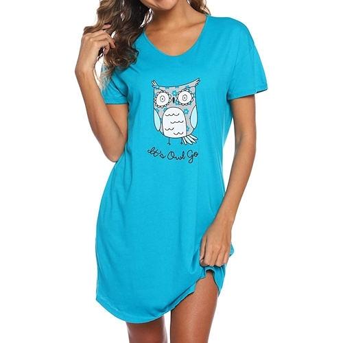 Enjoy 女棉柔軟針織貓頭鷹印花連身睡衣