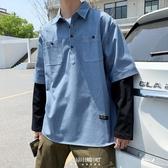 春秋季新款超火拼接長袖假兩件條紋襯衫套頭青少年學生寬鬆上衣潮 快速出貨