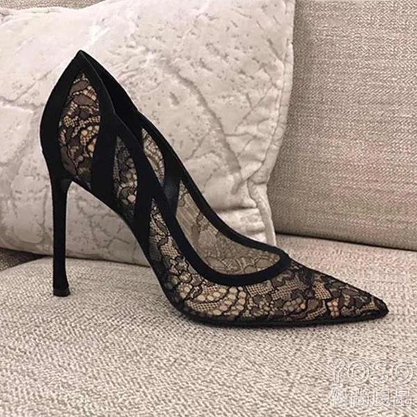新款淺口黑色拼色蕾絲鏤空婚鞋伴娘鞋真皮尖頭細跟女單鞋高跟鞋 618大促銷
