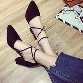 新款小清新高跟鞋女夏粗跟百搭尖頭韓版單鞋中跟chic女鞋 俏腳丫