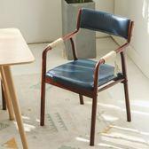 簡約實木餐椅布藝復古北歐現代餐廳飯店家用靠背中式扶手餐椅曲木ZMD