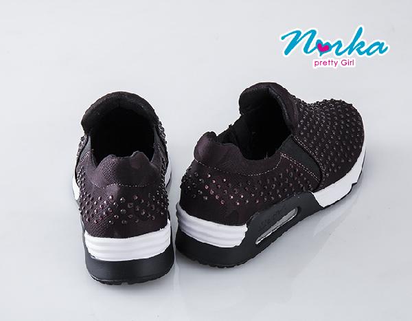 NORKA 鑽彩氣墊鞋 彈力測邊舒適款 女款 酒紅色