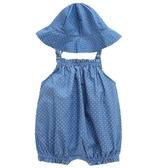 嬰兒軟牛仔連體衣背帶褲連體吊帶包屁衣包臀男女寶寶0-1歲夏天薄