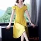黃色v領小禮服裙女裝22020夏季新款法...