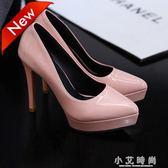 尖頭高跟單鞋女簡約超高跟細跟單鞋淺口防水台 小艾時尚