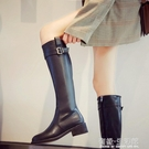粗跟不過膝高筒軍靴長筒皮靴女網紅瘦瘦靴秋冬新款直筒騎士靴 雙十二全館免運