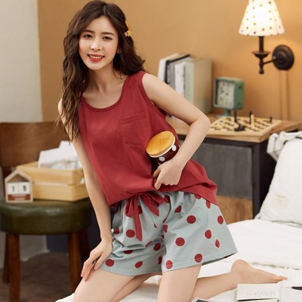 【兩件式居家服】純棉背心+蝴蝶結鬆緊短褲.白鳥麗子(八色任選 / 限量促銷)